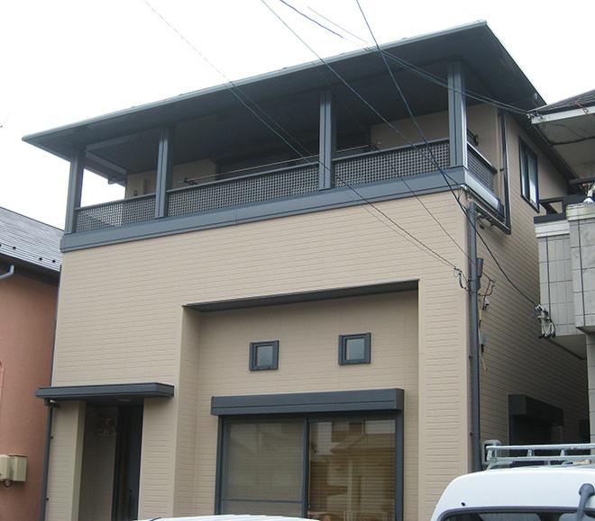 春日井市S様邸、外壁屋根塗装工事、施工後外観写真