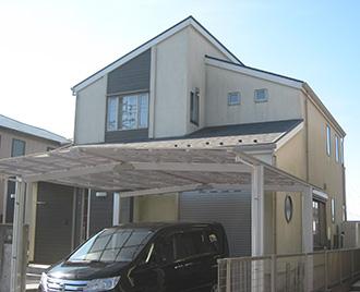 三重県桑名市M様、外壁屋根塗装工事前、外観全景画像
